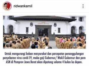 Perang Lawan COVID 19, Kang Emil Pangkas Gaji Gubernur, Wagub Dan ASN di Jawa Barat (instagram @ridwankamil)