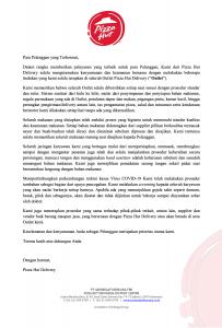 Indonesia Siaga COVID 19, Pizza Hut Indonesia Berlakukan Screening Kesehatan Karyawan (PHD.co.id)